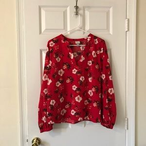 Target A New Day large red flowered blouse